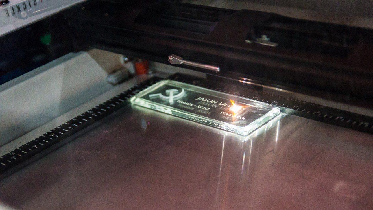 IPCPR 2014: Custom Laser Cigar Box Engraving from Hammer + Sickle